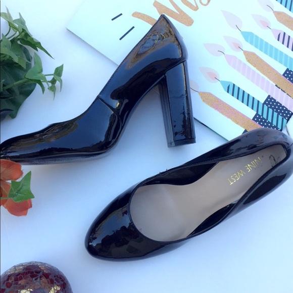Black Shiny Block Heels | Poshmark